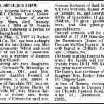 Shaw, Dorothy White, Mar. 1, 1994