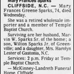 Sparks, Mary Frances Greene, Aug. 24, 1983