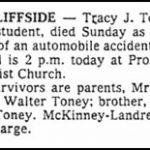 Toney, Tracy J., Nov. 9, 1980