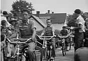 On bikes: Ray Cobb, Marvin McDaniel, Bobo Greene
