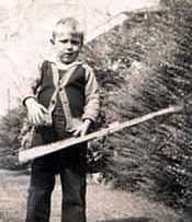 Sam Davis - with the toy rifle made for him by Vic Fortune.