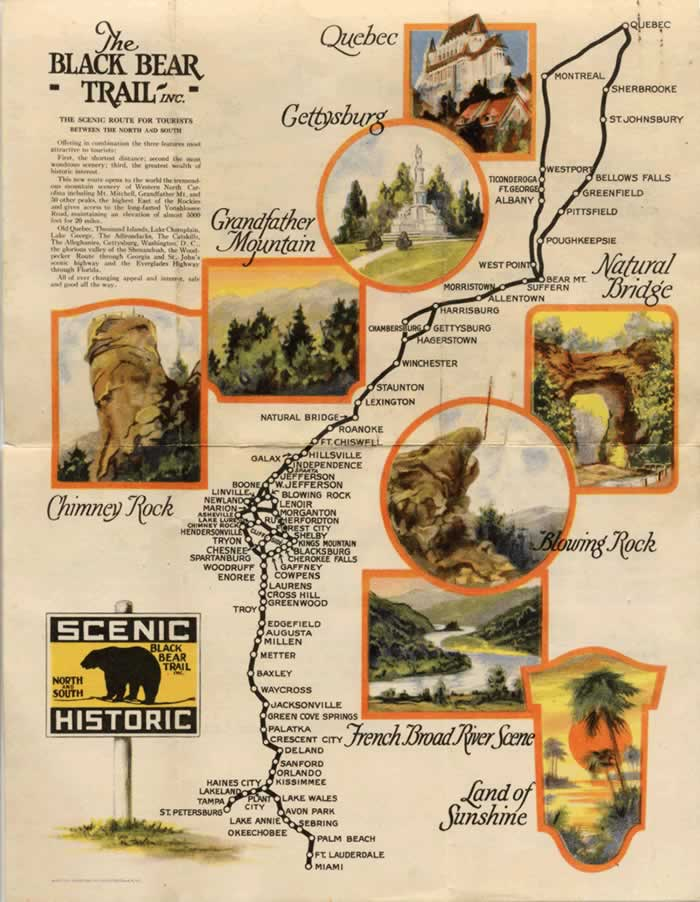 Map of The Black Bear Trail.  The 'trail' begins in Miami, Fla. (or alternately in St. Petersburg), winding its way north to Quebec, Canada. The colorful mag shows towns and sights along the route. Featured North Carolina attractions are Chimney Rock, Blowing Rock and Grandfather Mountain.