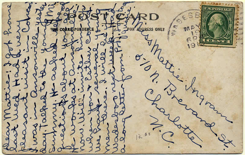 Reverse side of card with message and addressee
