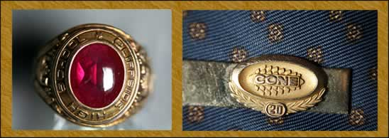 Photos of a Cliffside High ring and a Cone Mills tie pin for 20 years of service.