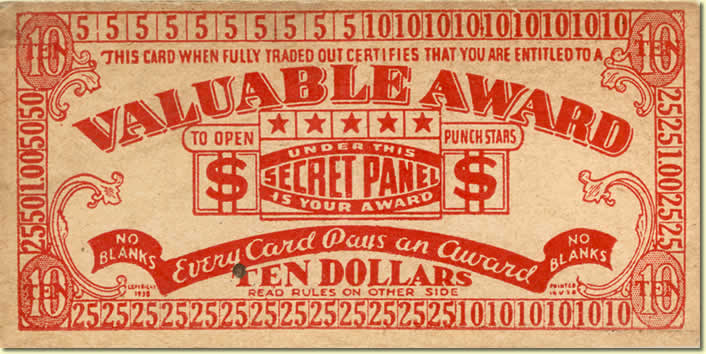 Dedmond Coupon (back). If you made a certain number of purchases, you were allowed to see a 4-digit number hidden beneath a secret panel, which revealed the monetary award you would receive. The highest award was $10; the lowest, forty cents.