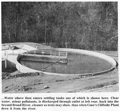 Water above then enters settling tanks one of which is shown here.  Clear water, minus pollutants is discharged through outlet  at left rear, back into the Second Broad river, cleaner as tests may show,  than when Cone's Cliffside Plant drew it from the river.