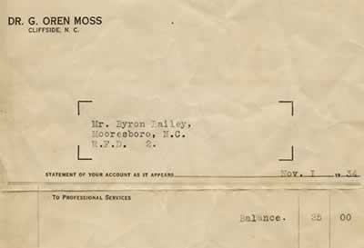 A statement from Dr. G. Oren Moss of Cliffside to Mr. Byron Bailey, RFD 2, Mooresboro, N.C. showing a balance due of $25 (for 'Professional Services').