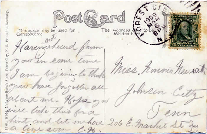 The message side of the card, postmarked March 6, 1909.