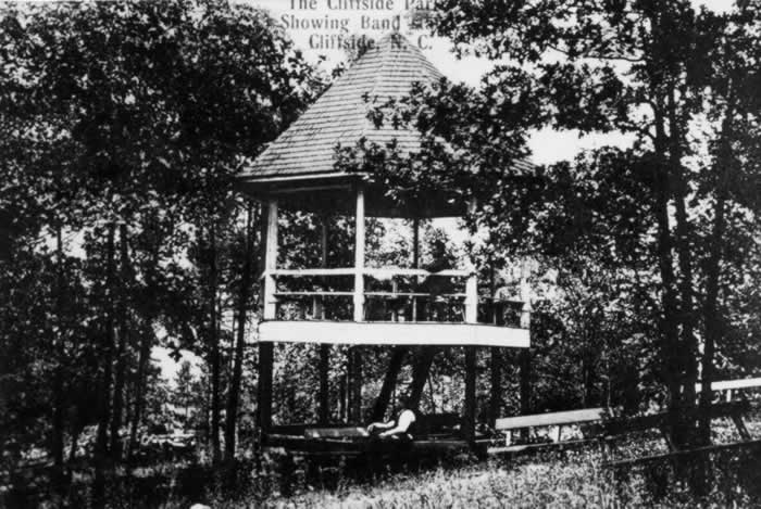 An open hexagonal structure, raised high off the ground on a tree-shaded slope near the river. The band's audience would sit beside and below the structure.