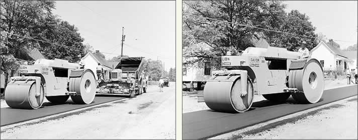 At left, a roller follows the paving machine, which in turn is following a dump truck feeding its hopper with fresh asphalt. At right, a closer look at a roller machine and its operator.