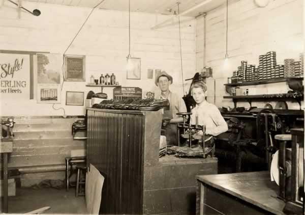 Inside the old shoe shop.