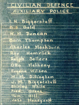 List of Civilian Defense Auxiliary Policemen including I. N. Biggerstaff. B. E. Gold, W. M. Duncan, Sam Thompson, Charles Mashburn, Roy Hamrick, Ralph Sellers, Otto Matheny, Eugene Wilson, H. M. Dillingham, J. M. Biggerstaff, Shirley White, Fred Green, Tom Hill and Jess Honeycutt.