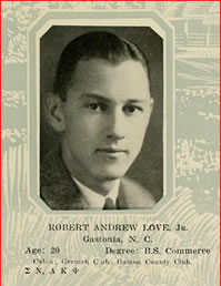 "A photo of Andy from UNC's 1928 yearbook. Underneath it reads ""Robert Andrew Love, Jr. Gastonia, N. C. Age 20. Degree: B.S. Commerce."""